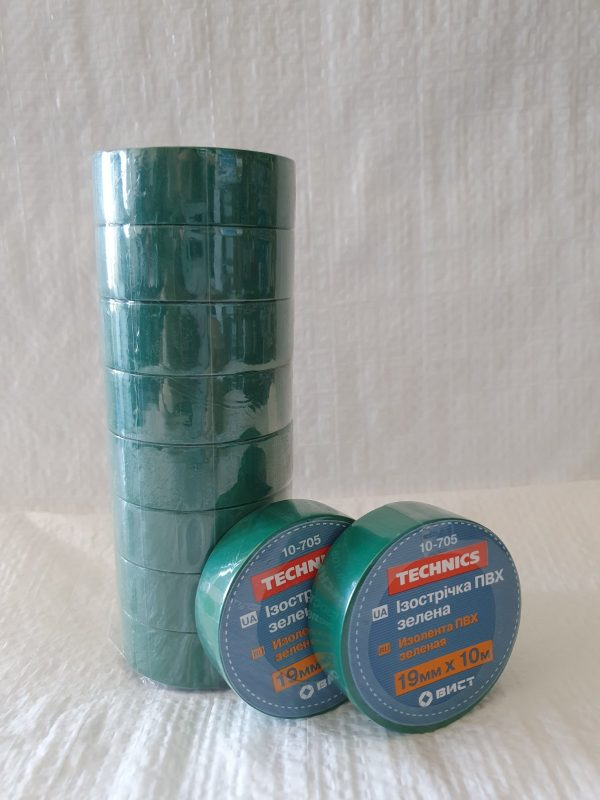 Изолента ПВХ зелена 19 мм х 10 м