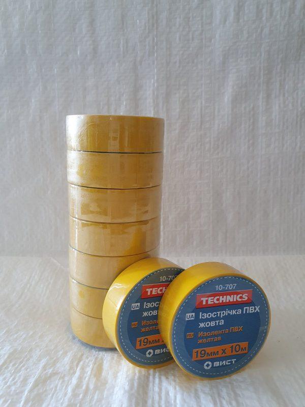 Изолента ПВХ жовта 19 мм х 10 м