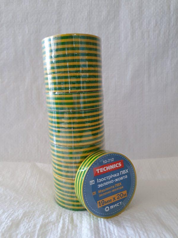 Изолента ПВХ зелено-жовта 19ммх20 м