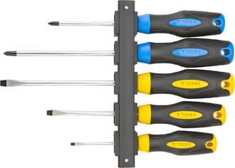 Набор отверток Cr-V, 5шт (SL5x75, SL6x100, SL6x125, PH1x75, РН2х100мм)¶